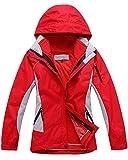 Qitun Damen 3 in 1 Outdoor Jacken Skifahren Bergsteigen warm Winddichte Bekleidung atmungsaktive Klettern Kleidung Rot L
